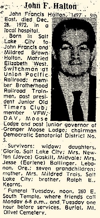 John Francis Halton | December 31, 1972 Obituary
