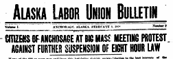 Alaska Labor Union Bulletin newspaper archives