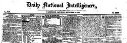 Washington National Intelligencer newspaper archives
