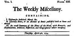 Dublin Weekly Miscellany newspaper archives