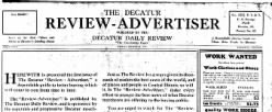 Decatur Review Advertiser newspaper archives