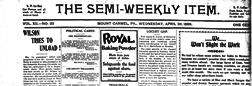 Mount Carmel Semi Weekly Item newspaper archives