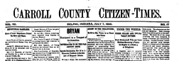 Delphi Carroll County Citizen Times newspaper archives