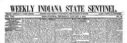 Indianapolis Weekly Indiana State Sentinel newspaper archives