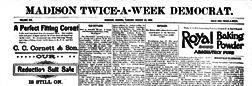 Madison Twice A Week Democrat newspaper archives