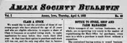 Amana Society Bulletin newspaper archives