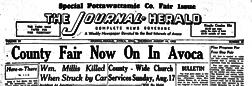 Avoca Journal Herald newspaper archives