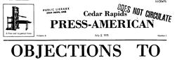 Cedar Rapids Press American newspaper archives