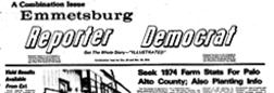 Emmetsburg Reporter Democrat newspaper archives
