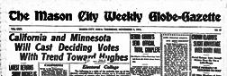 Mason City Weekly Globe Gazette newspaper archives