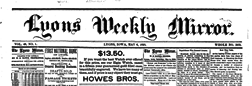 Lyons Weekly Mirror newspaper archives