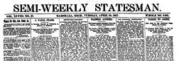 Semi Weekly Statesman newspaper archives