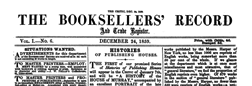 Booksellers Record And Trade Register newspaper archives