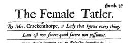 Female Tatler newspaper archives