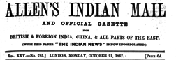 London Allen Indian Mail And Official Gazette newspaper archives