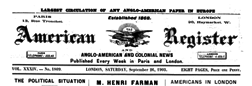 London American Register And Anglo American And Colonial News newspaper archives