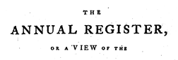 London Annual Register newspaper archives