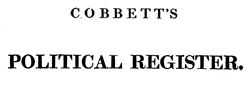 London Cobbetts Political Register newspaper archives