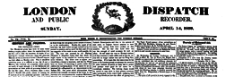 London Dispatch And Public Recorder newspaper archives