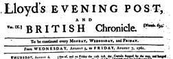 London Lloyd Evening Post newspaper archives