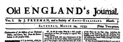 London Old England Journal newspaper archives