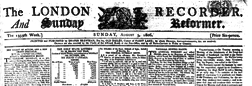 London Recorder And Sunday Reformer newspaper archives