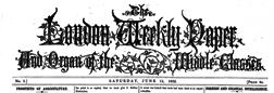 London Weekly Paper And Organ Of The Middle Classe newspaper archives