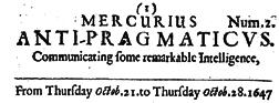 Mercurius Anti Pragmaticus newspaper archives