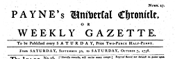 Paynes Universal Chronicle Or Weekly Gazette newspaper archives