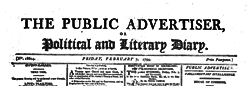 Public Advertiser Or Political And Literary Diary newspaper archives