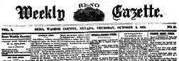 Weekly Reno Gazette newspaper archives