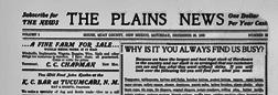 House Plains News newspaper archives