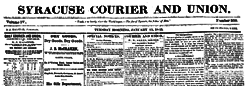 Syracuse Courier And Union newspaper archives