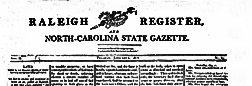 Raleigh Register And North Carolina Weekly Advertiser newspaper archives