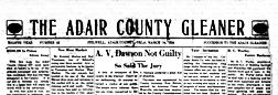 Adair Gleaner newspaper archives