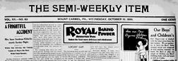 Mount Carmel Semi Weekly Item Mount Carmel Pennsylvania newspaper archives