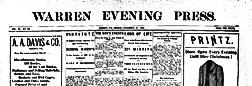 Warren Evening Press newspaper archives