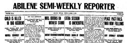 Abilene Semi Weekly Reporter newspaper archives