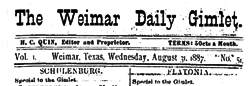 Weimar Daily Gimlet newspaper archives