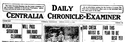 Daily Centralia Chronicle Examiner newspaper archives