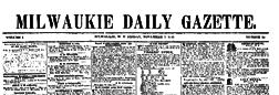 Milwaukee Daily Gazette newspaper archives