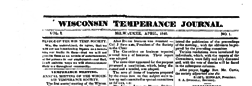Wisconsin Temperance Journal newspaper archives