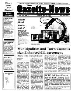 Baldur Gazette News newspaper archives