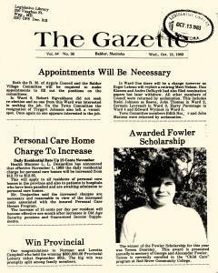 Baldur Gazette, October 12, 1983, Page 1