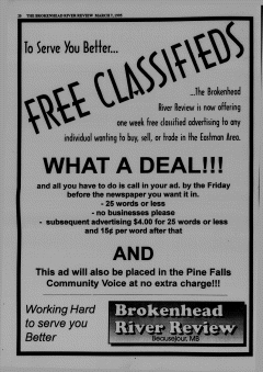 Beausejour Brokenhead River Review, March 07, 1995, Page 22