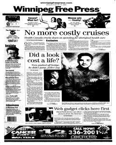 Winnipeg Free Press, February 15, 2001, Page 1