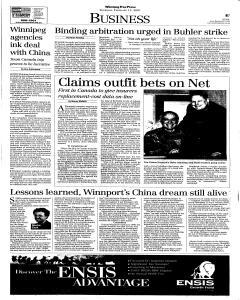 Winnipeg Free Press, February 15, 2001, Page 26