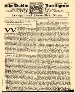 Dublin Intelligence, February 05, 1708, Page 1