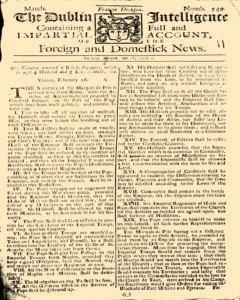 Dublin Intelligence, March 01, 1708, Page 1