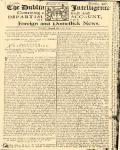 Dublin Intelligence, August 31, 1708, Page 1